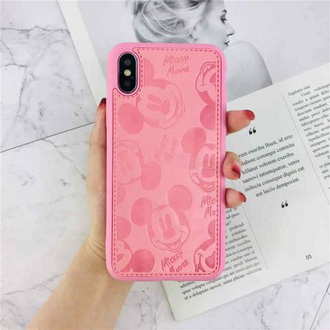 Чехол Mickey Mouse Leather для iPhone XS Max - Pink