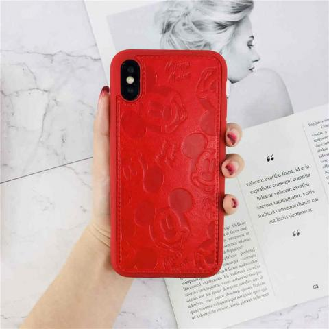 Чехол Mickey Mouse Leather для iPhone XS Max - Red