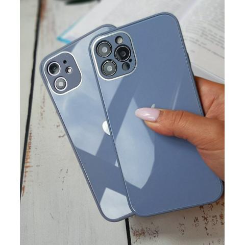 Glass Case с защитой для камеры для iPhone 12/12 Pro - Lavander Grey
