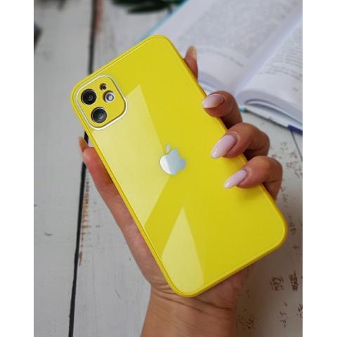 Glass Case с защитой для камеры для iPhone 12 Pro Max - Yellow