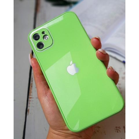 Glass Case с защитой для камеры для iPhone 12 Pro Max - Lime Green