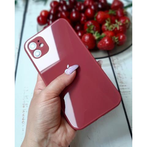 Glass Case с защитой для камеры для iPhone 12/12 Pro - Red