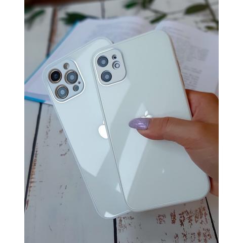 Glass Case с защитой для камеры для iPhone 11 - White