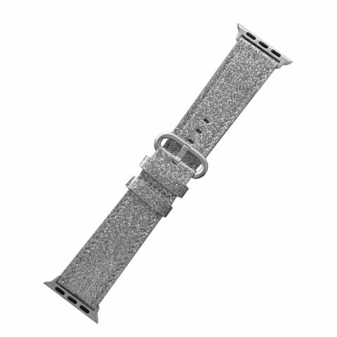 Кожаный ремешок для Apple watch 38/40 mm Glitter Silver