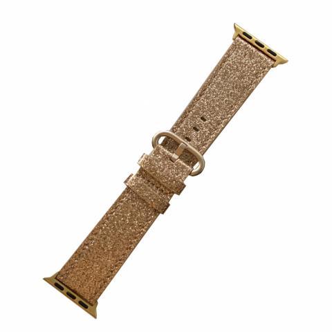 Кожаный ремешок для Apple watch 42/44 mm Glitter Gold