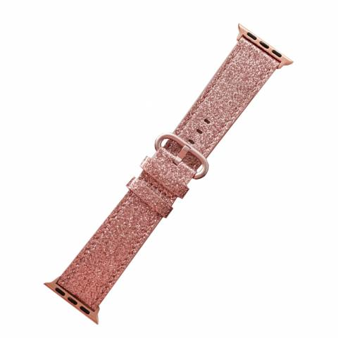 Кожаный ремешок для Apple watch 42/44 mm Glitter Pink
