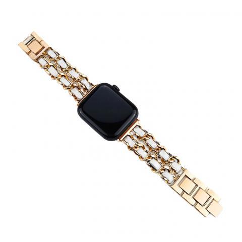 Ремешок для Apple watch 42/44 mm Chanell gold white