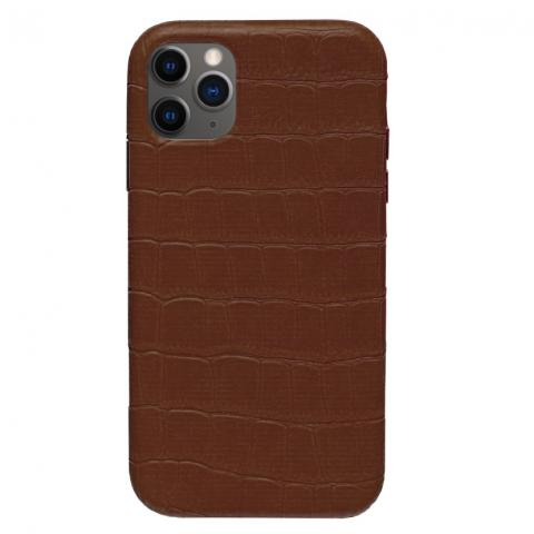 Чехол Crocodile Full Leather Case для iPhone 12 Pro Max Brown