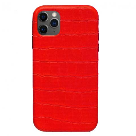 Чехол Crocodile Full Leather Case для iPhone 12 Pro Max Red
