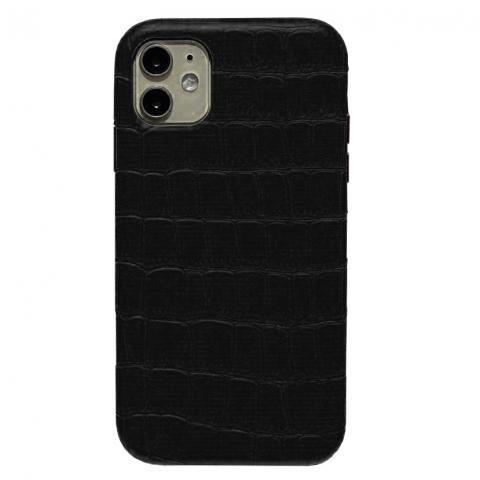 Чехол Crocodile Full Leather Case для iPhone 12/12 Pro Black