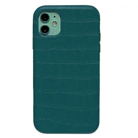 Чехол Crocodile Full Leather Case для iPhone 12/12 Pro Forest Green