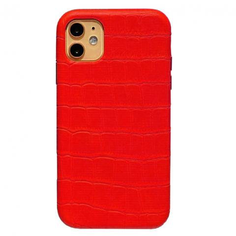 Чехол Crocodile Full Leather Case для iPhone 12 Mini Red