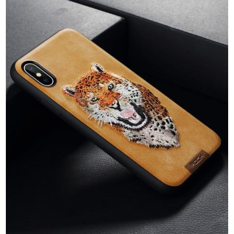 Чехол для IPhone X Rock Beast Series Embroidery Leopard