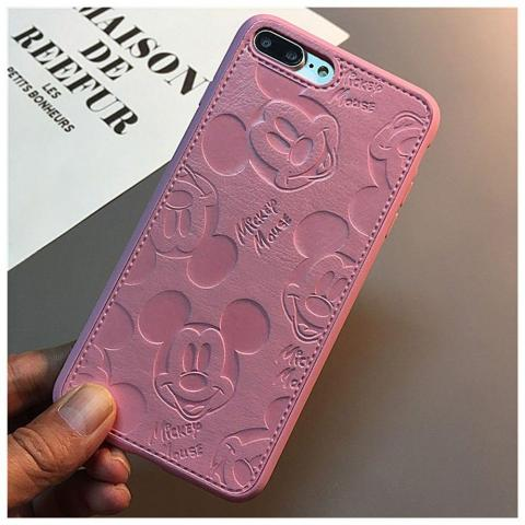 Чехол Mickey Mouse Leather для iPhone 7 Plus/8 Plus - Pink