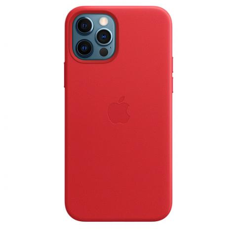 Чехол Leather Case with MagSafe для iPhone 12/12 Pro - RED