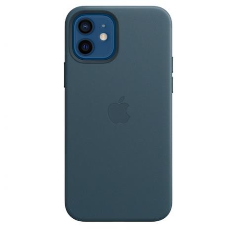 Чехол Leather Case with MagSafe для iPhone 12/12 Pro - Baltic Blue
