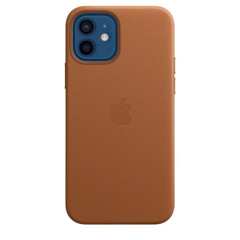 Чехол Leather Case with MagSafe для iPhone 12/12 Pro - Saddle Brown