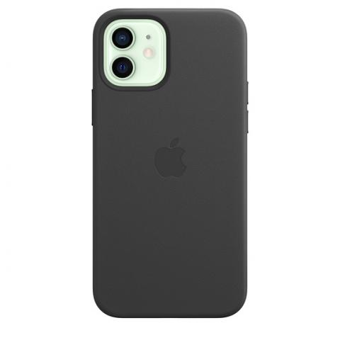 Чехол Leather Case with MagSafe для iPhone 12 Mini - Black
