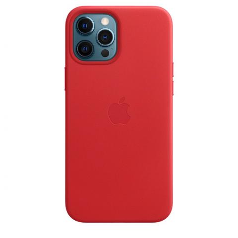 Чехол Leather Case with MagSafe для iPhone 12 Pro Max - RED