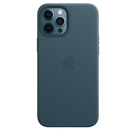 Чехол Leather Case with MagSafe для iPhone 12 Pro Max - Baltic Blue