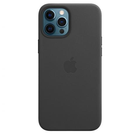 Чехол Leather Case with MagSafe для iPhone 12 Pro Max - Black
