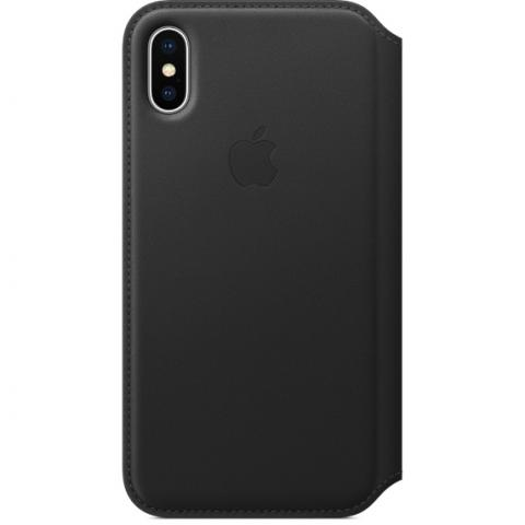 Чехол Apple Leather Folio чёрный для iPhone X
