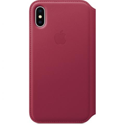 Чехол Apple Leather Folio красный для iPhone X