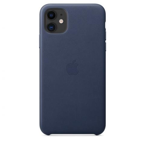 Кожаный чехол Leather Case Midnight Blue для iPhone 11