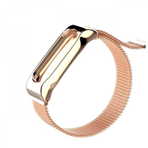 Ремешок Milanese Loop магнитная застежка для Xiaomi Mi Band 2/3 Rose Gold