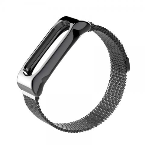 Ремешок Milanese Loop магнитная застежка для Xiaomi Mi Band 2/3 Black