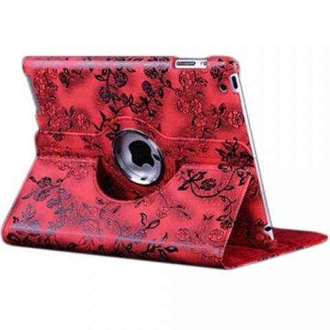 Чехол 360° Rotating Stand/Case Flower для iPad 4/ iPad 3/ iPad 2 - Red