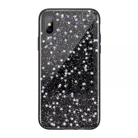 Чехол SwitchEasy Flash черный со звездами для iPhone X