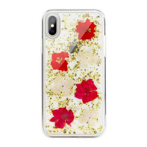 Чехол SwitchEasy Flash прозрачный с золотыми цветами для iPhone X